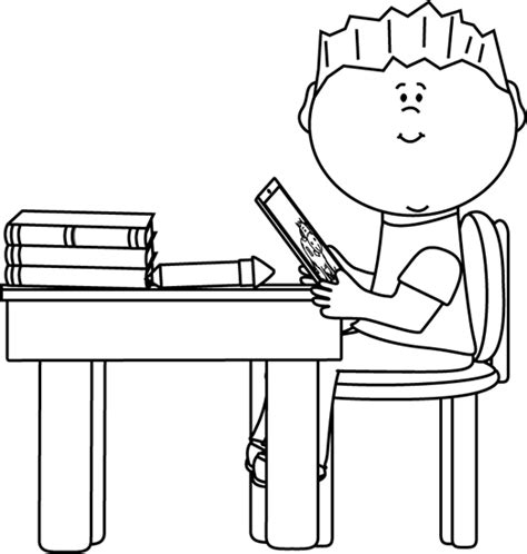 white school desk black and white boy at school desk with tablet clip
