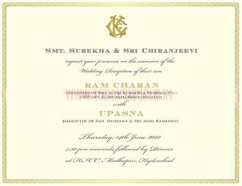 Exclusive Wedding Invitation Cards by Prince Downloads Ram Charan And Upasana Wedding