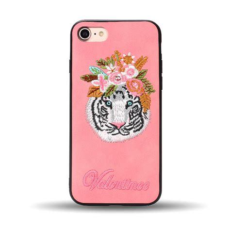 Indocustomcase Fericious Tiger Apple Iphone 7 Or 8 Cover wholesale iphone 8 plus 7 plus design cloth stitch hybrid pink tiger