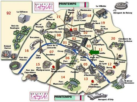 Mapa Paris Travel Maps and Major Tourist Attractions Maps