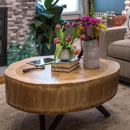 home dzine home diy   tree stump coffee table