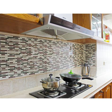 stick on backsplash for kitchen kitchen backsplash peel and stick tiles faux subway glossy wall tiles 4 sheets cer rv in wall