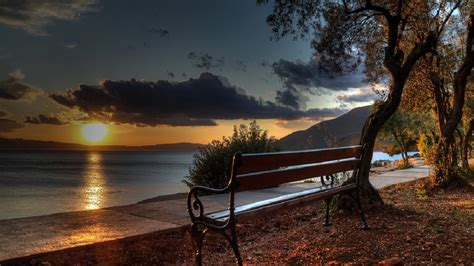 bench beach top bench in park sunset wallpapers