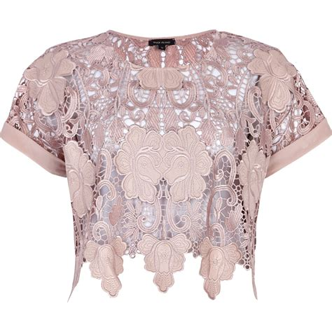 light pink top river island light pink lace crop top in pink lyst