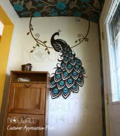 peacock wall sticker peacock three color wall decal nouwall contemporary