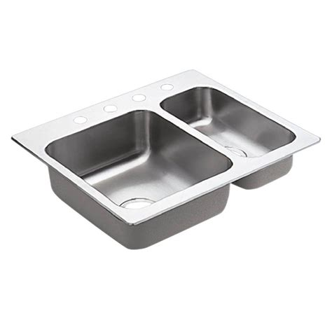 Moenstone Kitchen Sinks Moen 2000 Series Drop In Stainless Steel 25 5 In 4 Bowl Kitchen Sink G202714 The