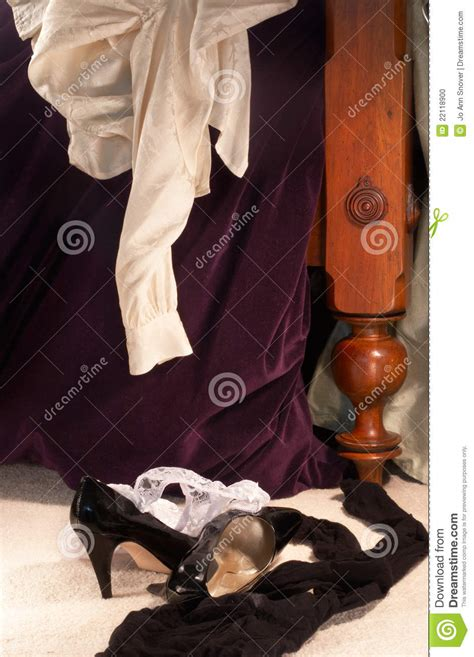clothes scattered   morning  stock photo image
