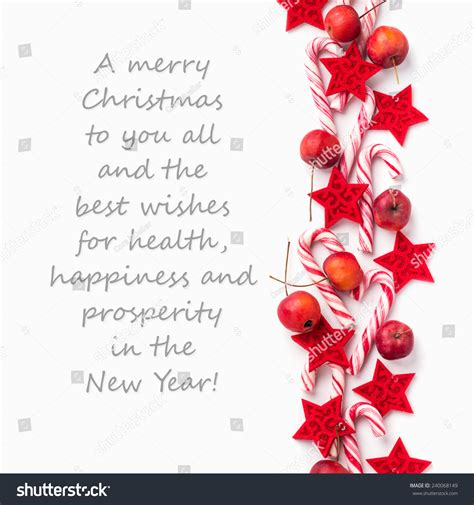 english christmas card candy canes applesa stock photo  shutterstock