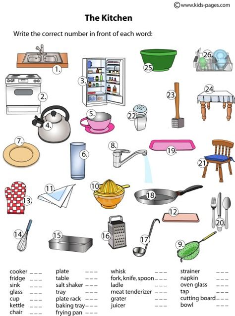 Things In The Kitchen Vocabulary by Kitchen Matching Worksheet
