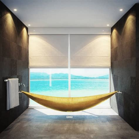 limited edition hammock bathtub that floats above the ground