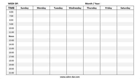 weekly calendar blank printable year calendar