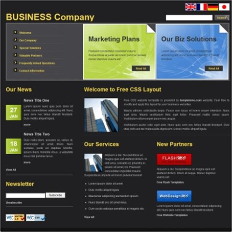 media template hosting business free website templates in css html js format