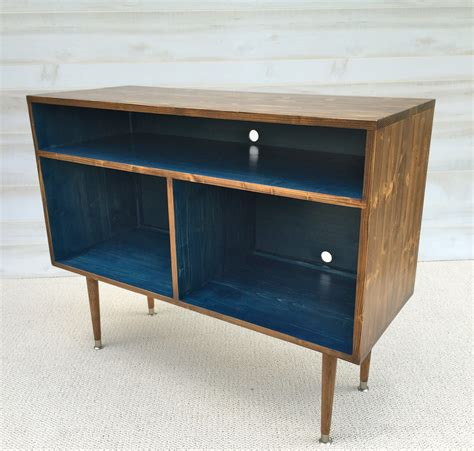 mid century modern record cabinet tv table media tv stand