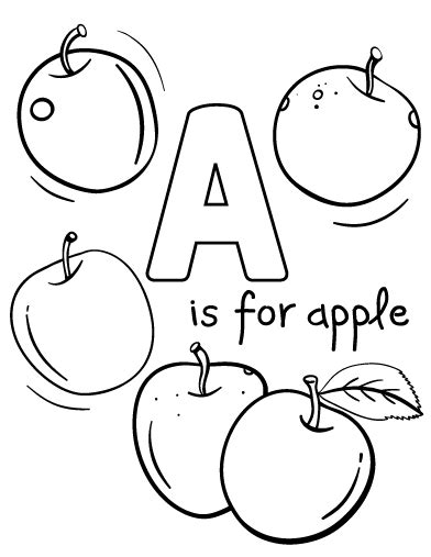 A Is For Coloring Pages free a is for apple coloring page
