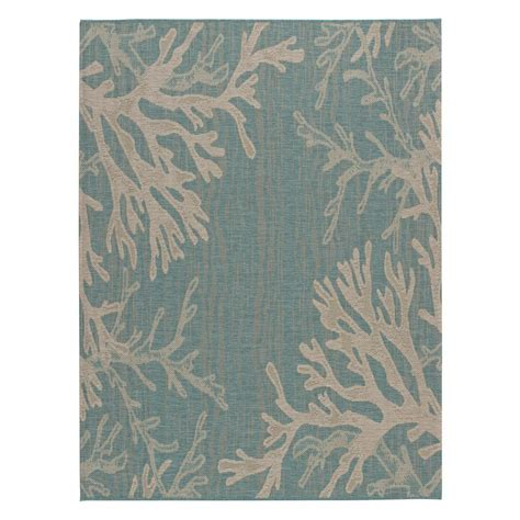 Hton Bay Reef Aqua 7 Ft 10 In X 10 Ft Indoor Outdoor Aqua Outdoor Rug