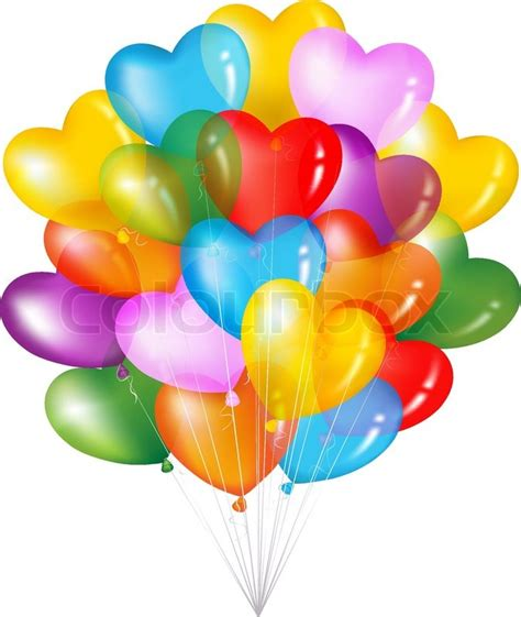 Birthday Decoration Images At Home by Bunch Of Colorful Heart Shape Balloons Isolated On White