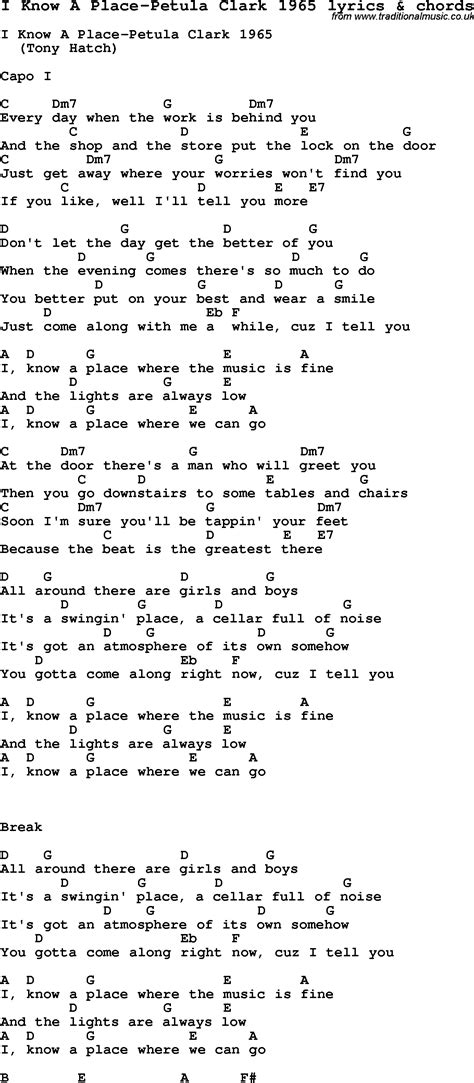 There Is A Place Song Lyrics Song Lyrics For I A Place Petula Clark 1965 With Chords