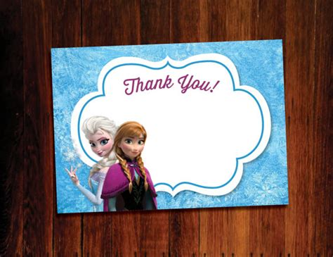 printable frozen thank you cards 6 best images of disney frozen printables thank you