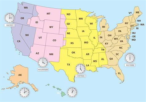 times zones in usa with the map time zones of us map free vector stock