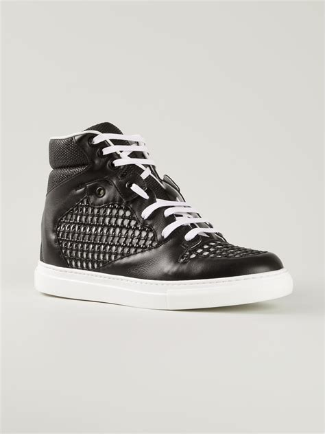 balenciaga black sneakers balenciaga hitop sneakers in black lyst