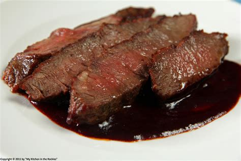 flat iron steak with red wine sauce and my view west my