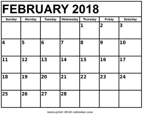 Printable February Calendar 2018