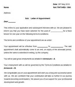 Appointment Letter Format For Reporter 25 Appointment Letter Templates Free Sample Example