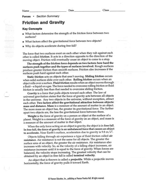 Friction And Gravity Worksheet friction and gravity worksheet
