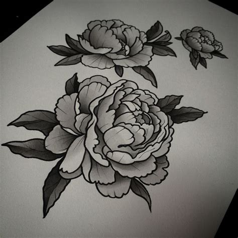 black and white flower tattoo designs 39 black and white peony tattoos designs and ideas