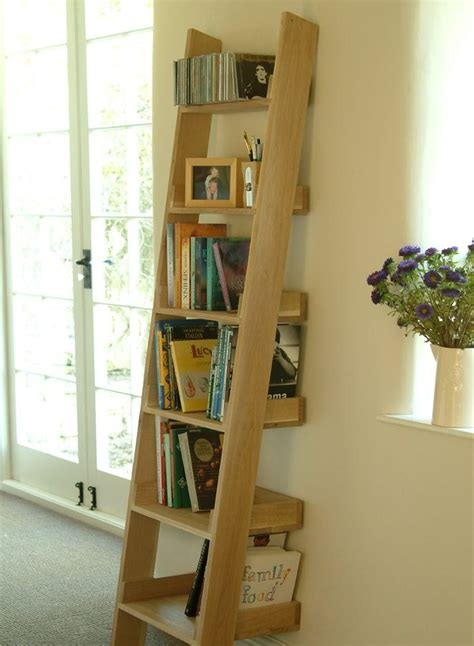 solid oak ladder shelf storage ideas oak