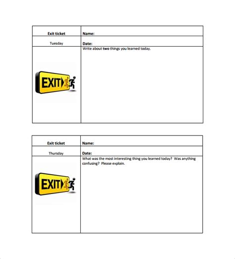 exit ticket template also included is a page of notes