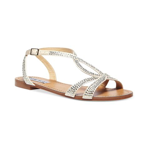 silver sandals womens steve madden s starrz flat sandals in silver silver