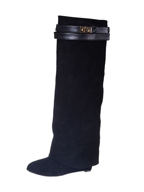 The Knee Wedge Boots black suede wedge knee boots choies