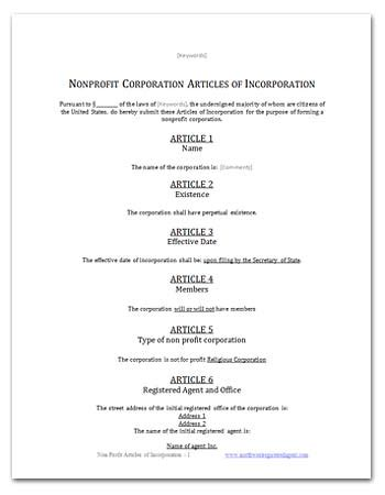 Free Ca Religious Corporation Articles Of Incorporation Articles Of Incorporation Mn Template