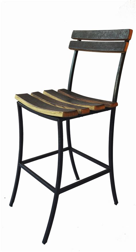 wine barrel bar stools with iron base and wine barrel heads