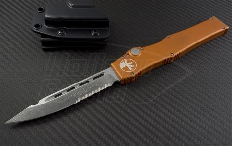 www microtech microtech knives orange halo v s e automatic otf s a knife 4 6in stonewashed part serr elmax