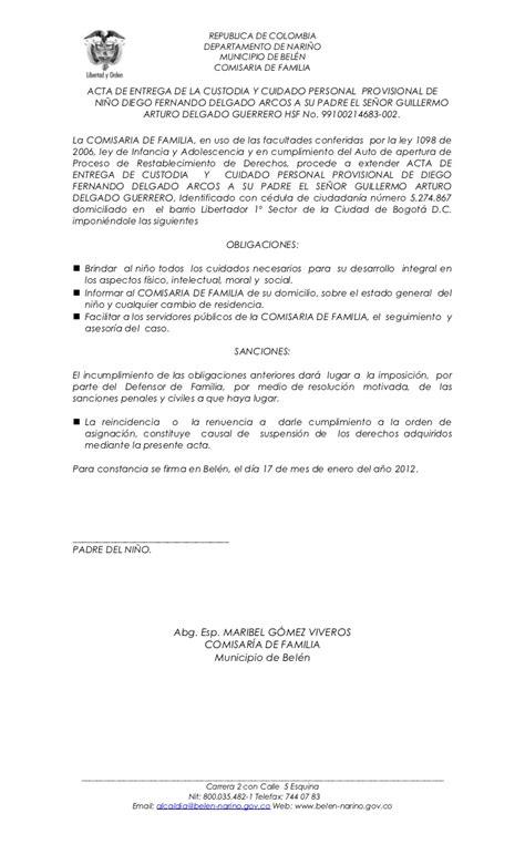 ejemplo de carta de custodia temporal acta custodia y cuidado provisional