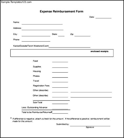 reimbursement form template free pdf expense reimbursement form sle