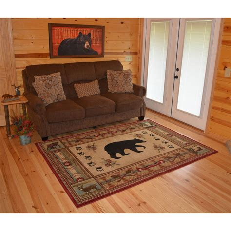 Rustic Cabin Area Rugs 5x8 5 3 Quot X 7 3 Quot Lodge Cabin Rustic Pine Area Rug Free Shipping Ebay