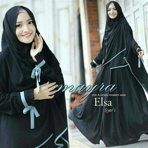 Baju Wanita Gamis Muslim Bergo Elsa Mayra Black Murah jual beli gamis terbaru syari bergo elsa mayra black