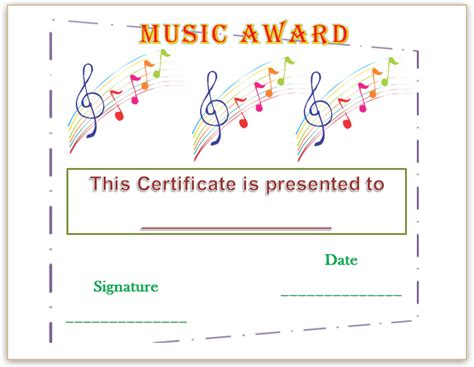 templates for music certificates music certificate template