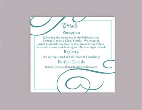 wedding information card template free diy wedding details card template editable text word file