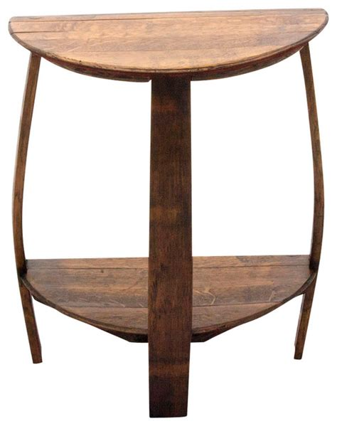 wine barrel end table the wine barrel half end table rustic side