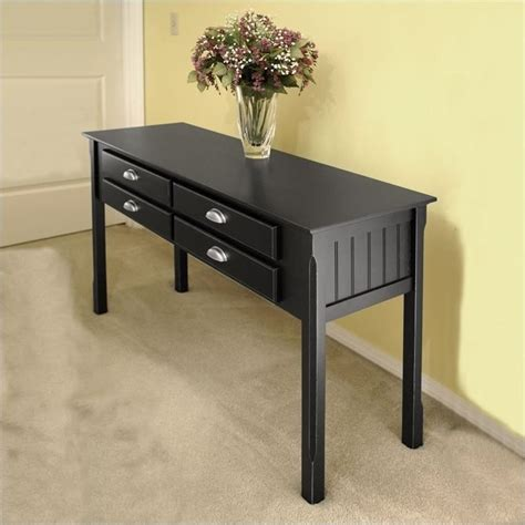 Winsome Timber Solid Wood Sofa Black Console Table Ebay Black Sofa Tables