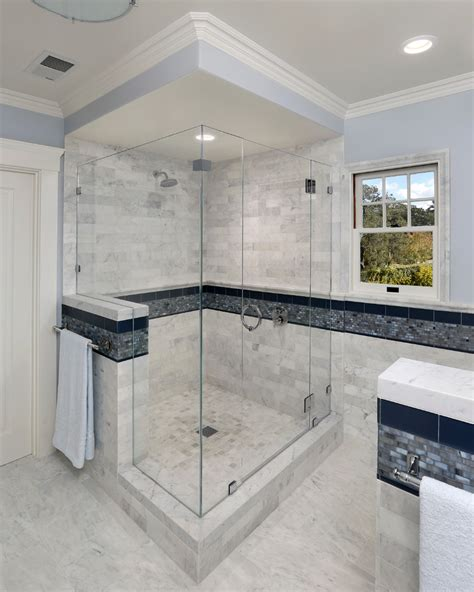 shower stall designs Bathroom Mediterranean with blue tile crown molding beeyoutifullife.com