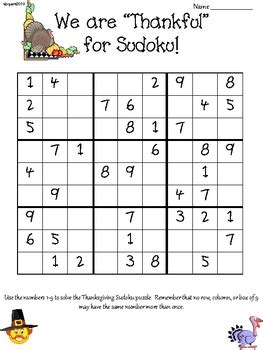 printable thanksgiving sudoku puzzles thanksgiving sudoku upper elementary by shannon bryant s