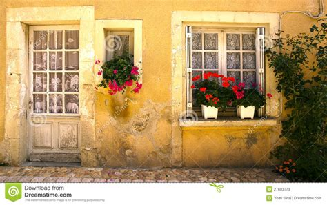 win with flower windows with flowers saint jean de cole france stock