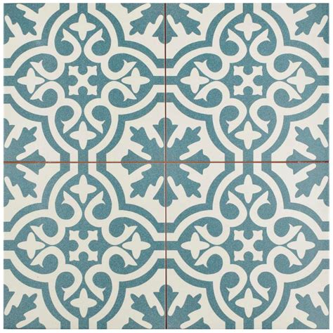 green patterned tiles merola tile berkeley blue 17 5 8 in x 17 5 8 in ceramic