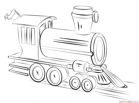 How To Draw A Steam Train  Step By Drawing Tutorials sketch template