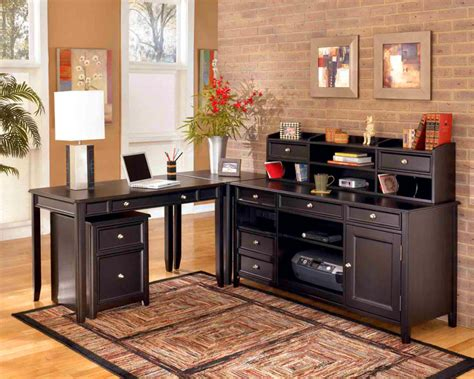 L Shaped Desks For Home Office Home Office Contemporary Home Office Design With L Shaped Wooden Desk Complete With Brown